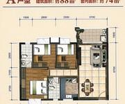 A1、A2、A3、B1、B2、B3栋01户型建筑面积约88㎡