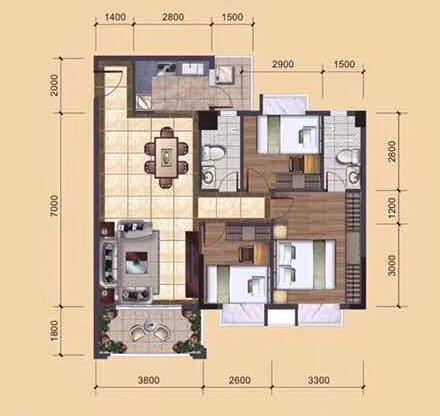A1、A2、B1、B2栋06户型建筑面积约96㎡