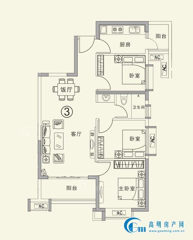 3座03户型建筑面积约89.92㎡